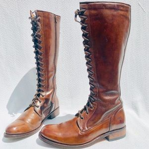 Frye Melissa Lace Up Combat Brown Riding Boots 9M
